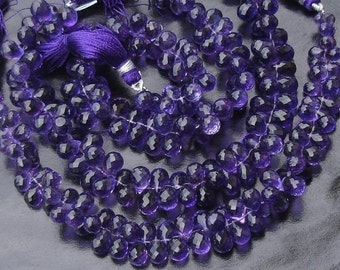 Strands AAA, Wholesale Price Offer, 25 Pcs of Gorgeous AFRICAN AMETHYST Micro Faceted Drops Shaped Briolettes.9-10mm Long
