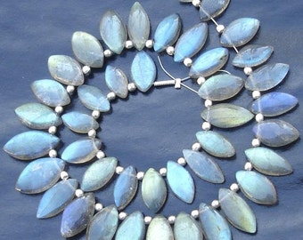 Extremely Blue Flashy Labradorite Smooth Marquise Shape Briolettes, 11-12mm Long,Half Strand,Great Quality at Wholesale Price .