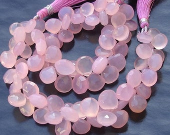 6 Inches Strand, ROSE Qtz Pink  Chalcedony Faceted Heart Briolettes,10-12mm Long size,GORGEOUS.