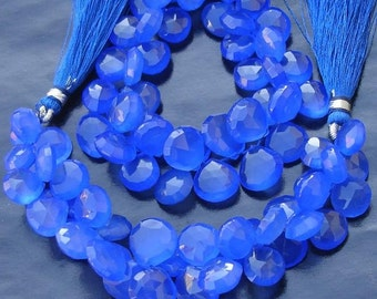 6 Inches Strand, Cobalt Blue Chalcedony Faceted Heart Briolettes,10-12mm Long size,GORGEOUS.