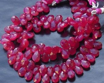 Brand New, 7 Inches Strand, Rare Ruby Red Chalcedony Faceted Pear Briolettes,9-10mm Long size,GORGEOUS.