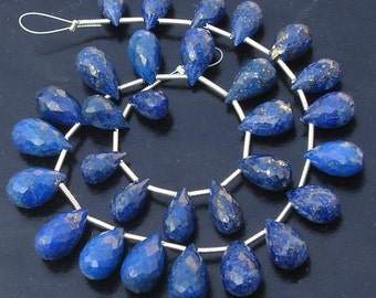 FULL Strand,Lapis Lazuli Faceted DROPS Briolettes (Size 10 to 14mm approx),Great Quality At Low Rates