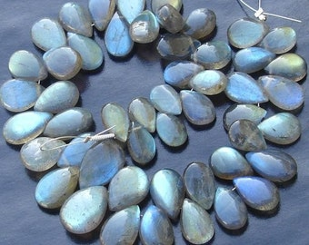 6 Inch Strand, Extremely Blue Flashy Labradorite Smooth Pear Shape Briolettes, 9-11mm Long,Great Quality at Wholesale Price .