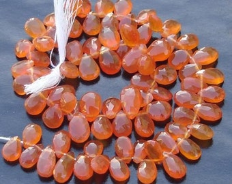 6 Inch Long Strand, CARNELIAN Faceted Pear Shaped Briolettes, 10-12mm Long size,GORGEOUS