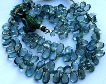 8 Inch Long Strand, Gorgeous Quality Moss Aquamarine Faceted PEAR Shaped Briolettes, 8-11MM,Great Item