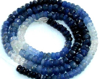 14 Inch Long 100% NATURAL Shaded Blue Sapphire, 3.5mm Faceted Rondelles Fine Quality Wholesale Price