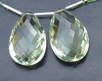 3 Pairs.AAA Quality Rare 20x13mm,Matched Pair GREEN Amethyst Pear Shape Briolettes, Gorgeous Item.