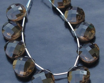 8 Inch Strand-VERY-FINEST-5 Matched Pair, AAA Quality 16X16mm, Smoky Quartz Faceted Heart Shape Briolettes, Gorgeous Item.
