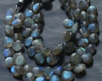 7 Inch Long Full Strand, Blue Flashy Labradorite Faceted HEART Shaped Briolettes, 9-10mm Long size,Promotional Price Item