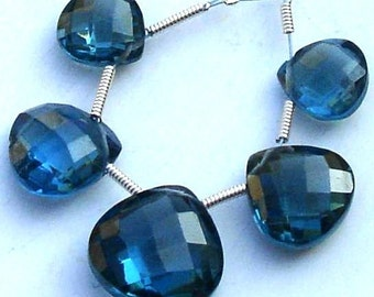 5 Pcs Set, LONDON BLUE Quartz Faceted HEART Shaped Briolettes,10-14mm Long, 2 Pairs and 1 Focal,Great Item