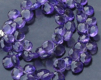 Wholesale Offer,HALF Strand, Nice Quality Amethyst Faceted HEART Shape Shape Briolettes,Gorgeous Quality, 7-9MM Size,.Great Price Item