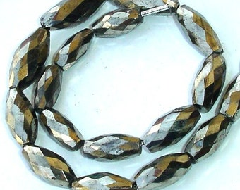 10 Inch Long Full Strand, Sparkling Pyrite Faceted Drum Shape Beads Briolettes,12-18mm Size,Great Quality