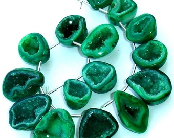 1/2 Strand, Amazing Rare GREEN Druzy CAVE Briolettes, AAA Quality,Both Size Polished, 20-25mm Size,Great Item