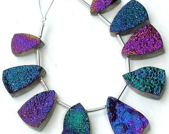 AAA Quality TITANIUM Druzy Long PYRAMID Shaped Briolettes,12-18mm Size,Great Item,Amazing Quality