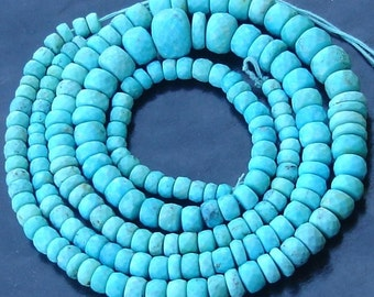 8 Inch Strand, AAA Arizona Turquoise Faceted RONDELLS, 5-6mm size aprx,Great Value Item