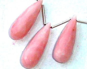 3 Pcs Set,Rare Peruvian Pink Opal Faceted ELONGATED Drops Shaped Briolettes,3 Pieces of 25mm Long,Great Price