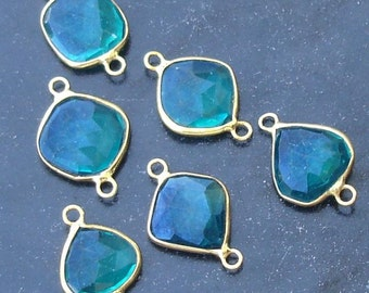 925 Sterling Silver, Paraiba Blue Quartz, 24K Gold Plated Connector,ONE Piece of 13-16mm