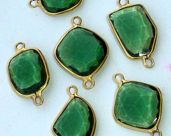 925 Sterling Silver, Green Quartz, 24K Gold Plated Connector,ONE Piece of 13-18mm