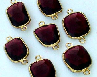 925 Sterling Silver, Ruby Red Quartz, 24K Gold Plated Connector,ONE Piece of 15-20mm