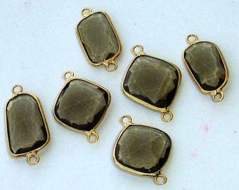 925 Sterling Silver, SMOKY Quartz, 24K Gold Plated Connector,ONE Piece of 14-18mm
