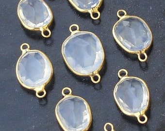 925 Sterling Silver, ICE Quartz, 24K Gold Plated Connector,ONE Piece of 13-18mm