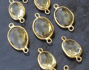 925 Sterling Silver, GOLDEN Citrine, 24K Gold Plated Connector,ONE Piece of 13-18mm
