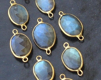 925 Sterling Silver, BLUE FLASHY Labradorite, 24K Gold Plated Connector,ONE Piece of 14-16mm
