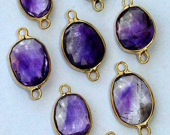 925 Sterling Silver, Rare MOSS AMETHYST, 24K Gold Plated Connector,ONE Piece of 12-15mm