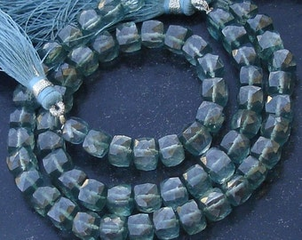 New Stock, Full 8 Inch Strand Mystic GREEN Quartz Faceted 3D BOX, 6-7mm Long,Manufacturers Price
