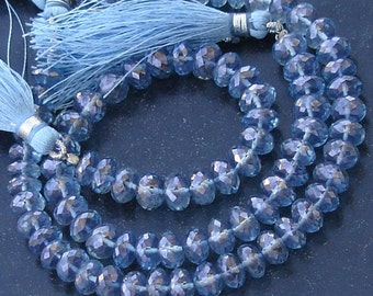 New Stock, Full 8 Inch Strand Mystic TANZANITE BLUE Quartz Micro Faceted RONDELLS, 7-8mm Long,Manufacturers Price