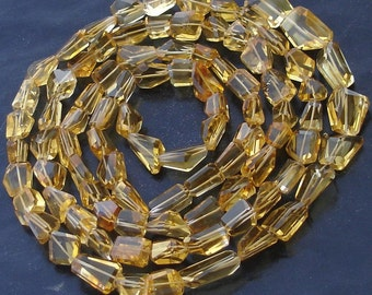 AAA Quality, Full 8 Inch Long Strand, Super Shiny Golden CITRINE STEP Cut Faceted Nuggets, 10-12mm Long size,Manufacturers Price