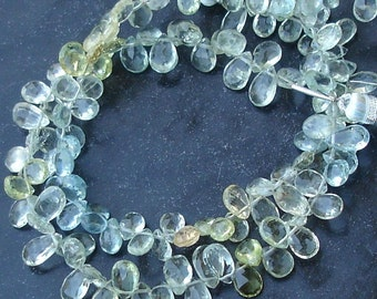 1/2 Strand MULTI AQUAMARINE Faceted Pear Shape Briolettes, 6-8mm Long Great Price Rare Item