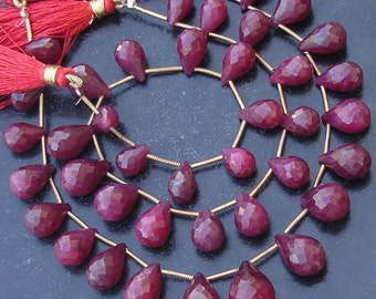 8 Inch Full Strand, AAA Quality Unique NATURAL RUBY Faceted Drops Shape Briolette, 9-12mm,Great Value Item