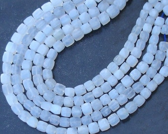 New Arrival, 1/2 Strand, NATURAL Holly Blue Chalcedony Faceted 3D Box Shape Briolettes, 7-8mm Size,Unique Colour
