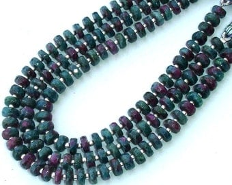 New Arrival, 8 Inch Long Strand Rare RUBYZOISITE Faceted Tyre Shape Rondells, 6-6.5mm Larger Size,Great Price
