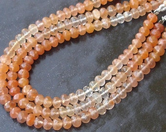 New Arrival, 8 Inch Strand Rare AAA Quality TANZARINE Quartz Micro Faceted Rondells, 7-8mm Larger Size,Great Price