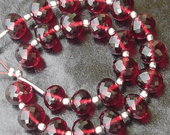 New Arrival,8 Inch Long Strand, RUBY RED QUARTZ Micro Faceted Rondells,8mm Long,Great Price Amazing Item
