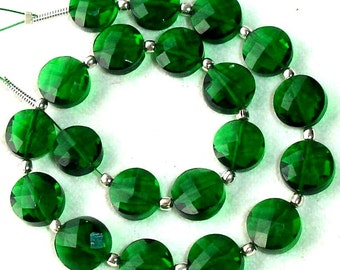 New Arrival,8 Inch Long Strand, EMERALD GREEN QUARTZ Faceted Flat Coin Shape Briolettes,8mm Size,Great Price Amazing Item