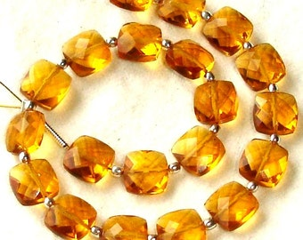 New Arrival,8 Inch Long Strand, MADEIRA QUARTZ Faceted Cushion Shape Briolettes,8mm Size,Great Price Amazing Item