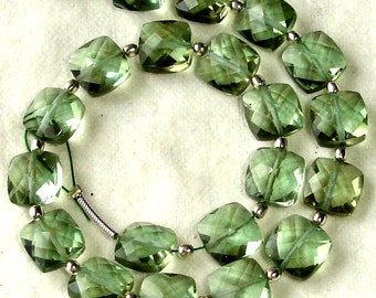 New Arrival,8 Inch Long Strand, GREEN AMETHYST QUARTZ Faceted Cushion Shape Briolettes,8mm Size,Great Price Amazing Item