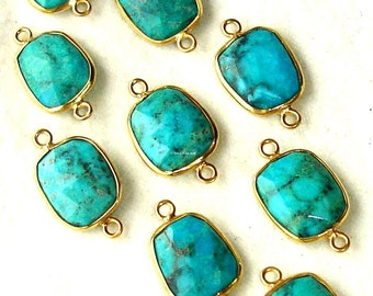 20x925 Sterling Silver, Natural TURQUOISE ,24K Solid Gold Plated Sterling Connector,ONE Piece of 15-16mm
