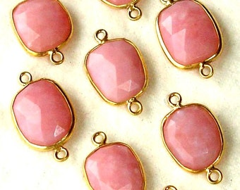 925 Sterling Silver, Peruvian PINK OPAL ,24K Solid Gold Plated Sterling Connector,ONE Piece of 15-16mm
