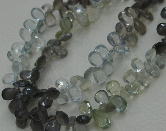 9 Inch Strand,Very-Very-Finest Quality AAA,Multi SPECTROLITE Faceted Pear Shaped Briolettes, 9-10mm Long size.