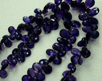 8 inch-VERY-VERY-FINEST Purple Amethyst Faceted Pear Shape Shape Briolettes,7-10mm Size,.Great Price Item