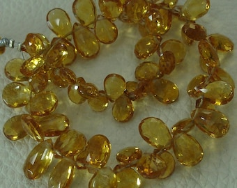 8 Inch, SUPERB Very-Very-Finest Quality, Citrine Faceted Pear Briolettes, 6-10mm aprx.Super Fine Citrine Ever seen