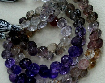 8 INCH, Multi Natural-Super Finest AAA Quality, Moss AMETHYST Faceted Onions Briolettes, 7-8mm aprx.Super,Very Fine