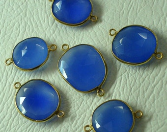925 Sterling Silver, COBALT Chalcedony, 24K Gold Plated Bazel Connector,ONE Piece of 15-18mm