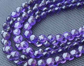 8 Inch strands,SUPER-FINEST-aaa Quality BRAZIL Amethyst Micro Faceted 7-8mm Onions Shape Briolettes,Super Fine Quality,Wholesale Price