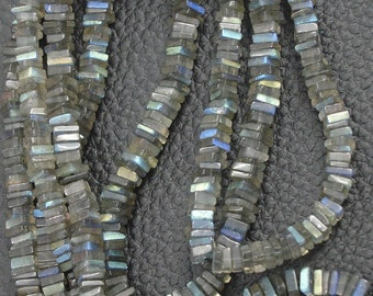 3x16 Inch Strand, Super Finest-Quality- Blue Flashy LABRADORITE HEISHI Cut Square Beads, 4-4.5mm size,.