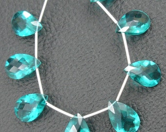 8 Inch Strand, PARAIBA Blue quartz Cut Pear Briolettes,SUPERB-FINEST-aaa Quality,very Low Price